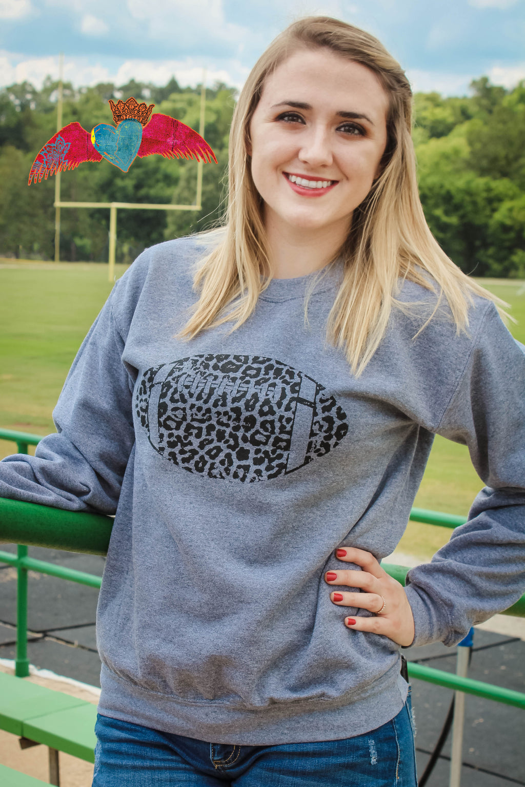 Cheetah Football Crew Sweatshirt