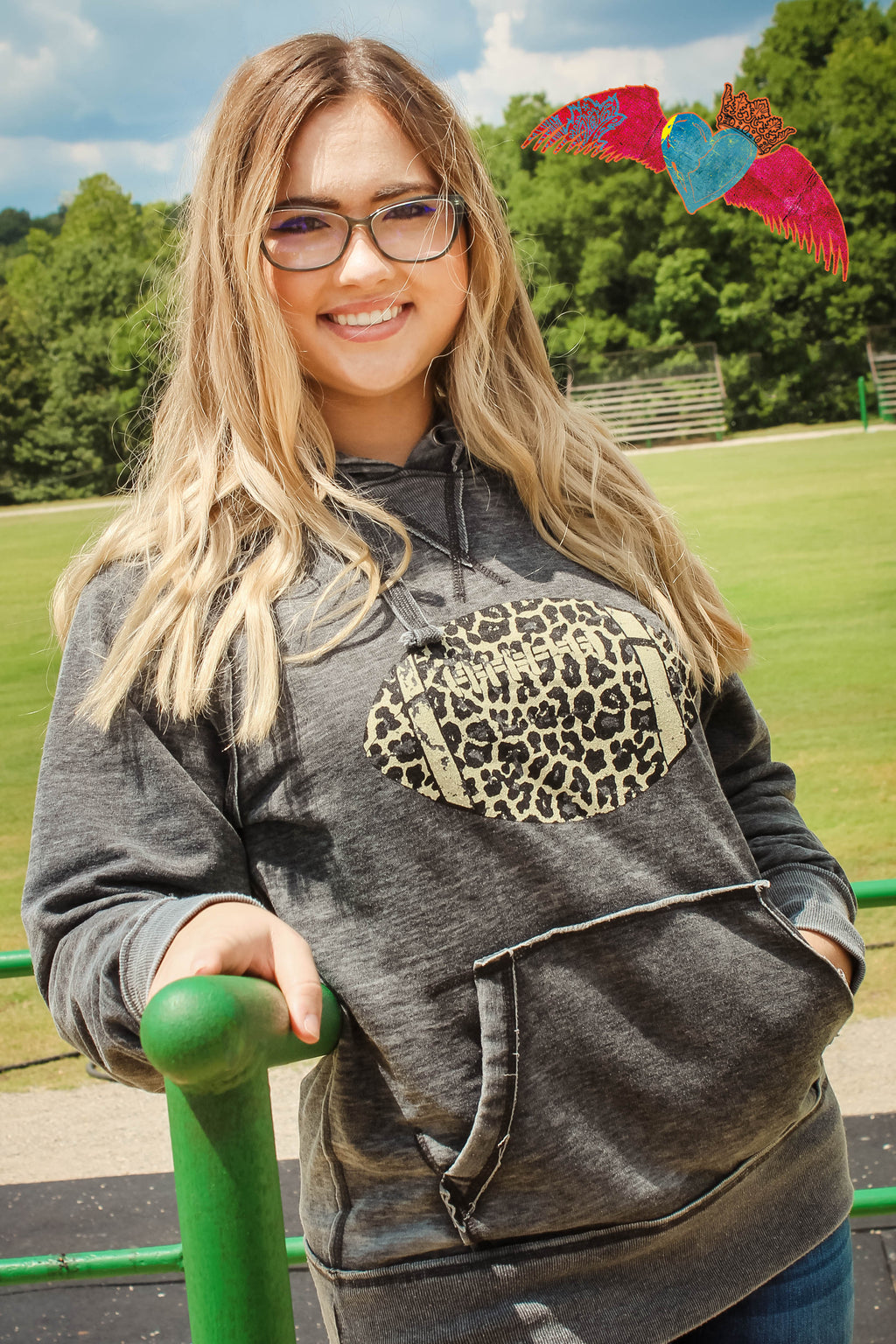 Snow Leopard Football Hoodie - Bless UR Heart Boutique