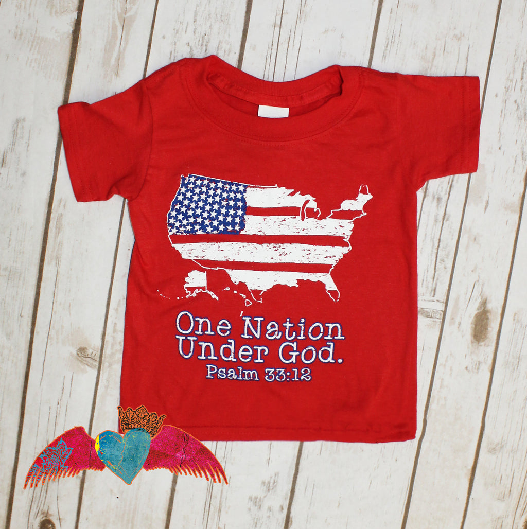 One Nation Under God KIDS Tee - Bless UR Heart Boutique
