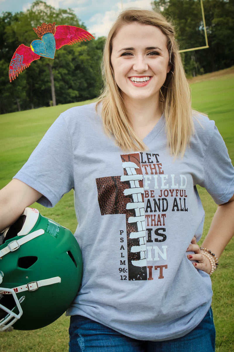 Football Cross V-Neck - Bless UR Heart Boutique