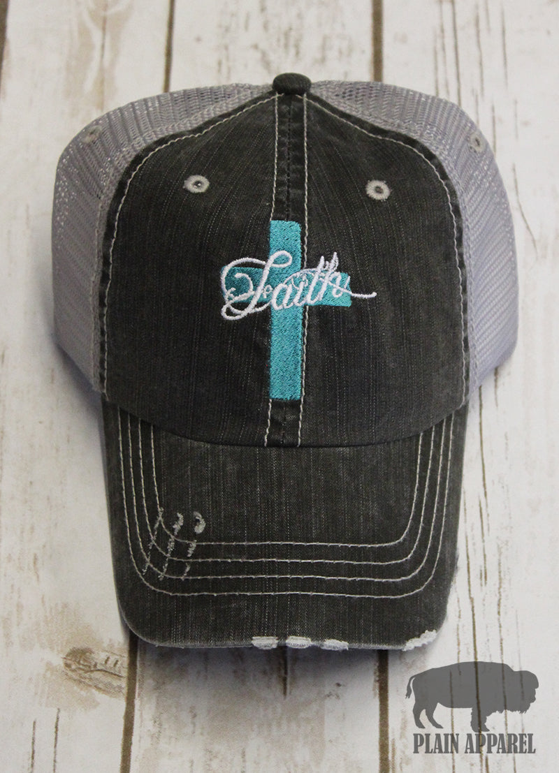 Turquoise Faith Cross Ball Cap - Bless UR Heart Boutique
