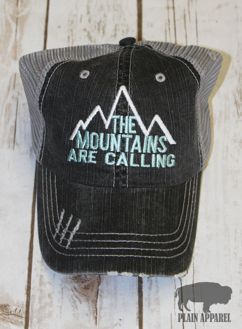 Mountains Are Calling Ball Cap - Bless UR Heart Boutique