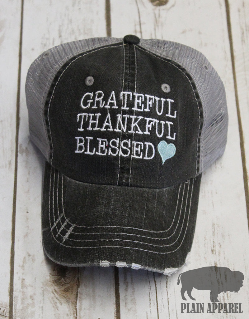 Grateful Thankful Blessed Ball Cap - Bless UR Heart Boutique