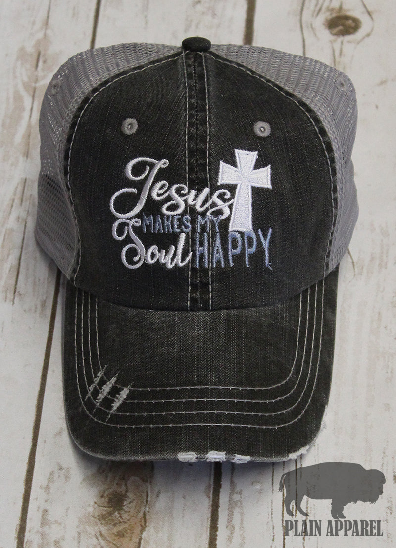 Jesus Makes My Soul Happy Ball Cap - Bless UR Heart Boutique