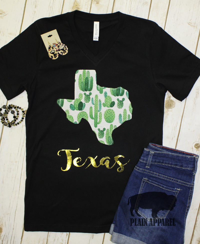 Bright Cactus State Shape V-Neck Tee - Bless UR Heart Boutique