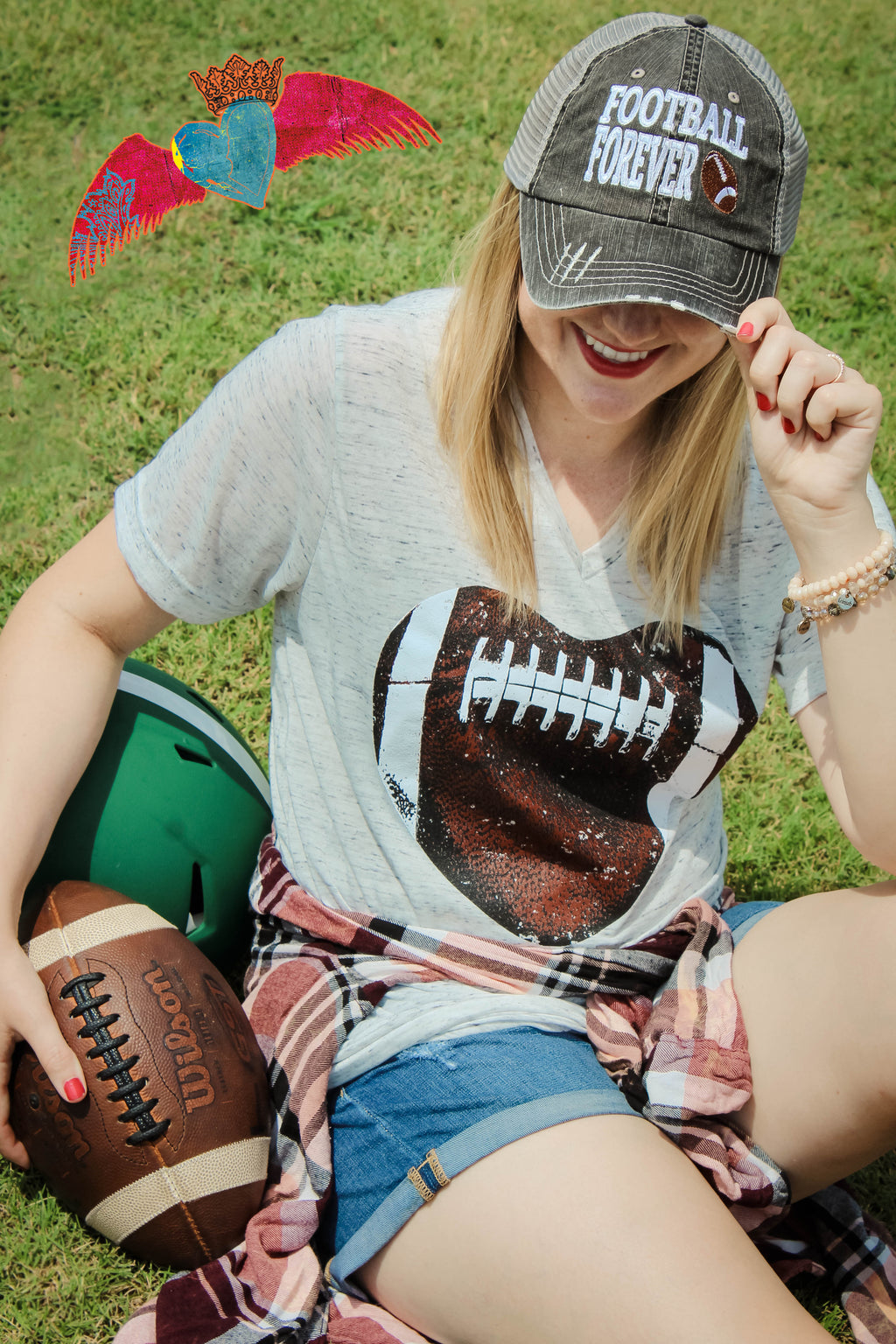 Football Heart Marble V-Neck - Bless UR Heart Boutique
