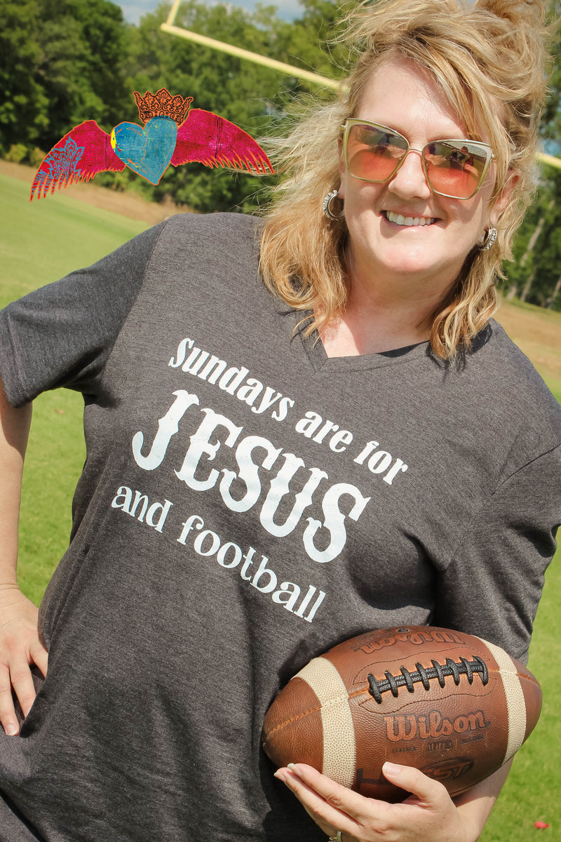 Sundays are for Jesus and Football V-Neck - Bless UR Heart Boutique