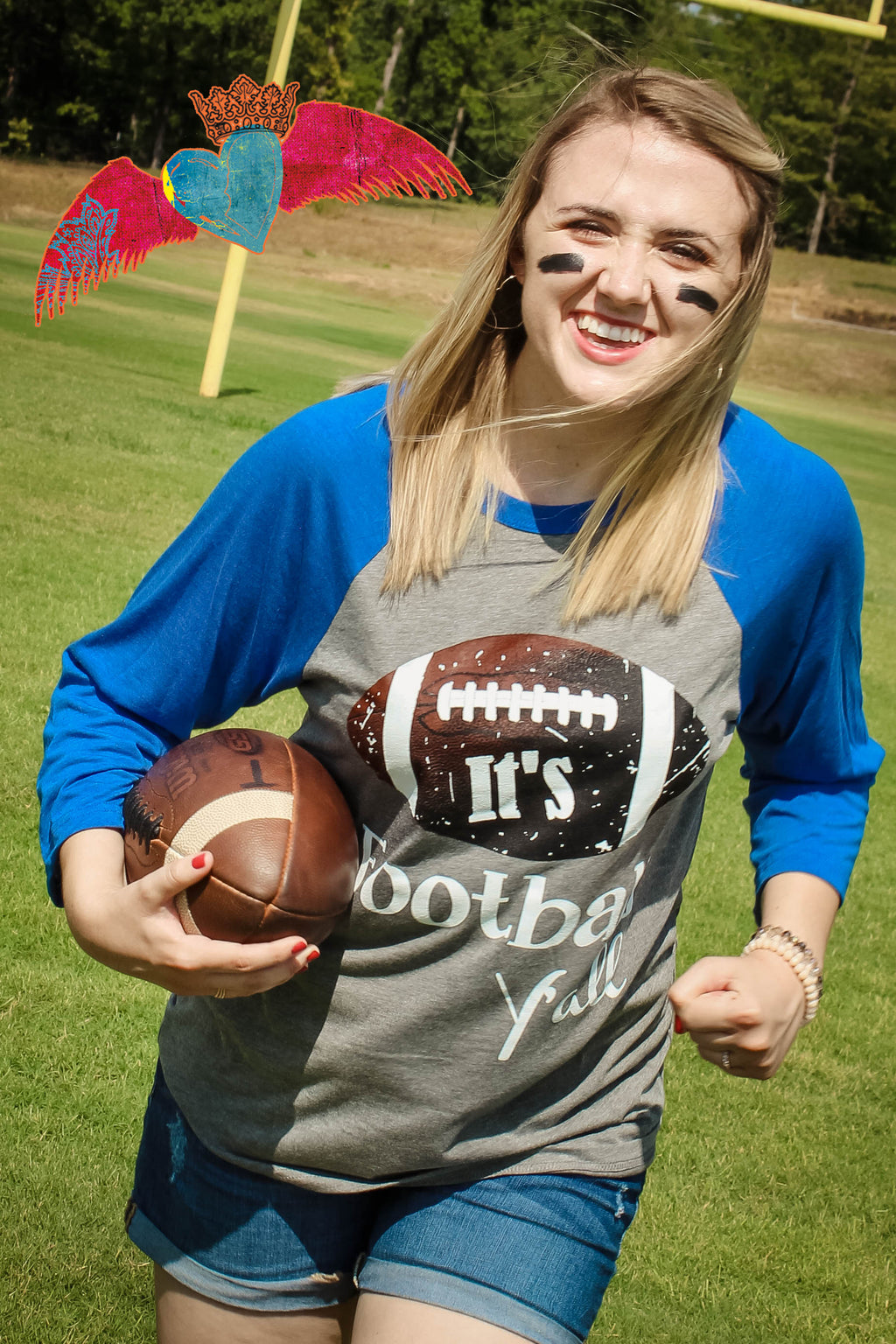 It's Football Y'all Raglan BLUE - Bless UR Heart Boutique