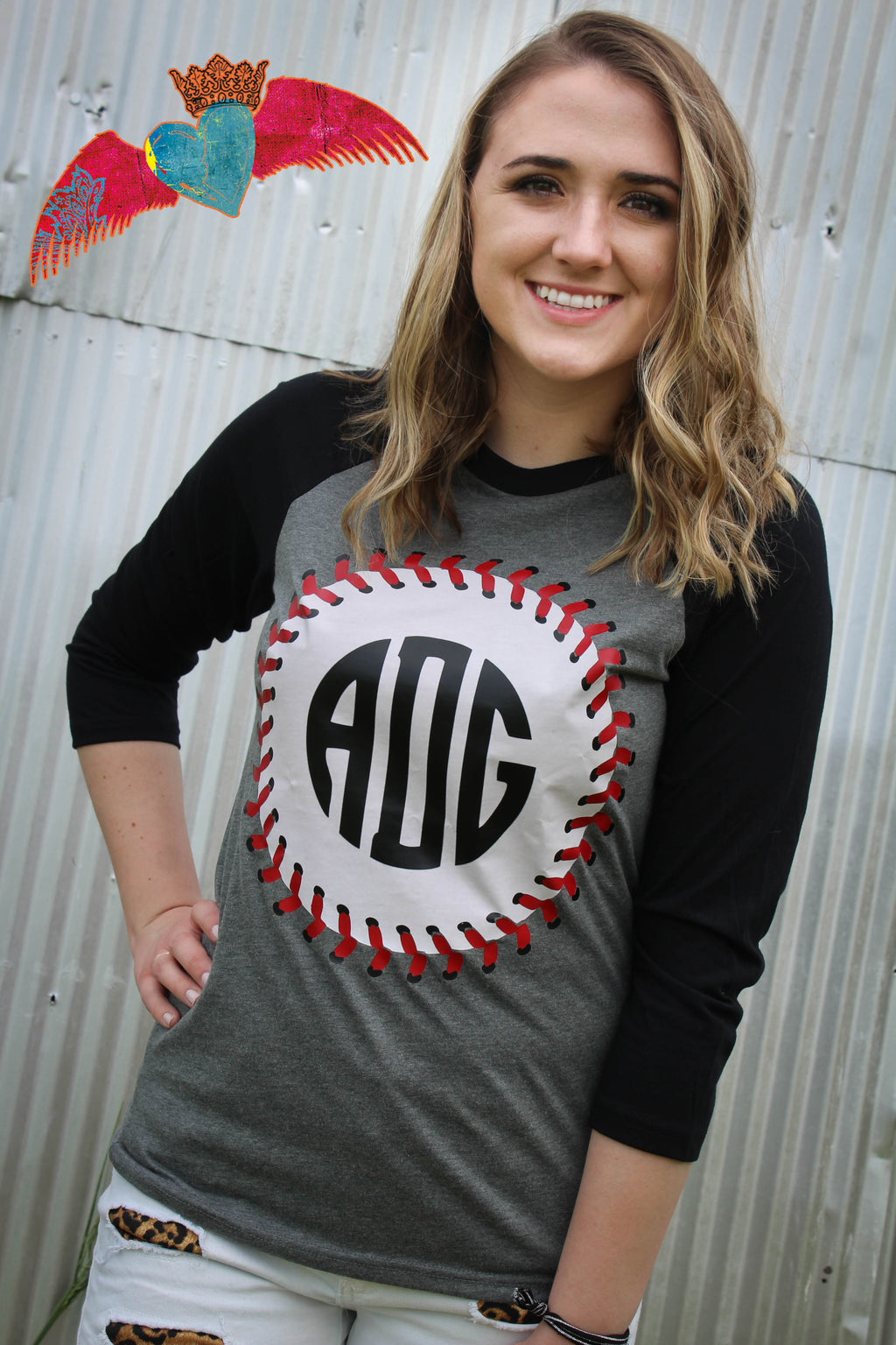 Baseball Stitching Monogram Raglan or Gray V-Neck