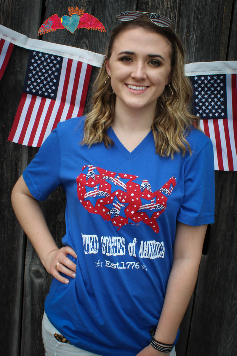 United States of America Applique V-Neck - Bless UR Heart Boutique