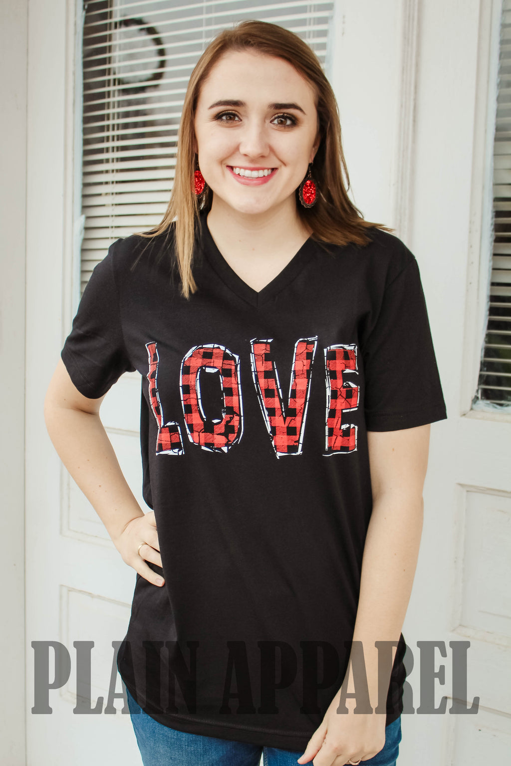 Love Buffalo Plaid V-Neck - Bless UR Heart Boutique