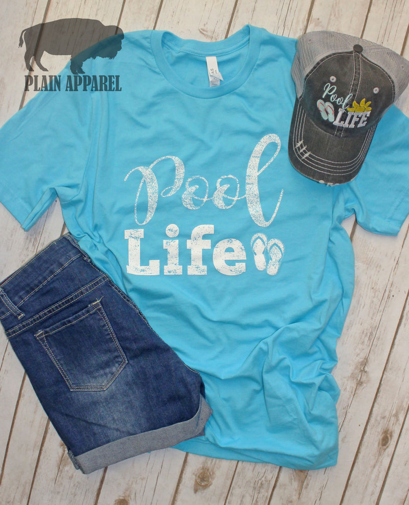 Pool Life Crew Neck Tee - Bless UR Heart Boutique
