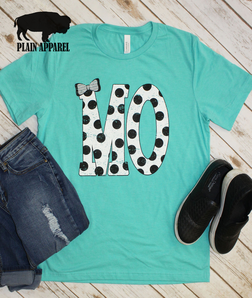 MO Polka Dot Abbreviation Crew Neck Tee - Bless UR Heart Boutique