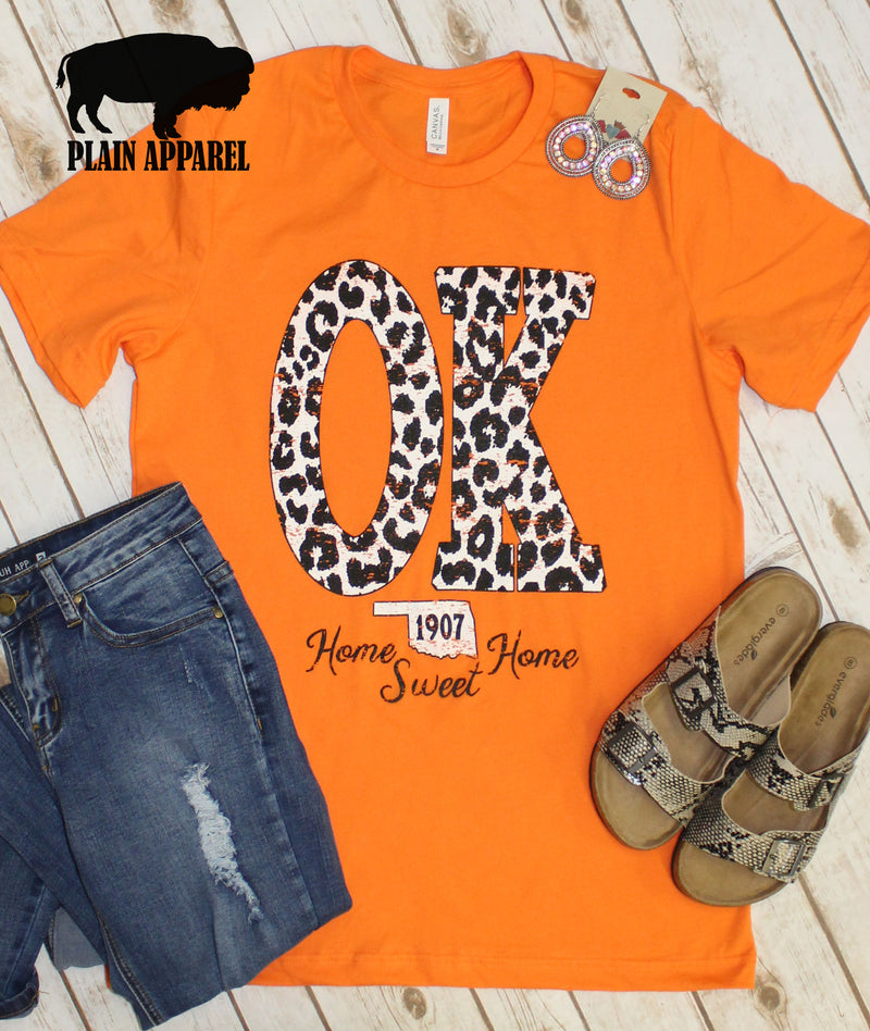 Orange OK Leopard State Abbreviation Crew Neck Tee
