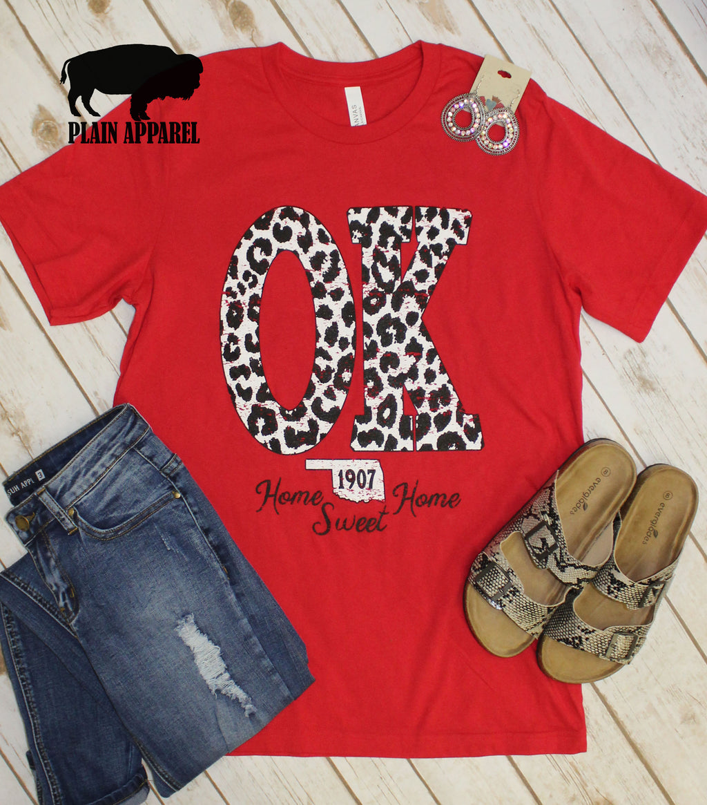 Red OK Leopard State Abbreviation Crew Neck Tee - Bless UR Heart Boutique