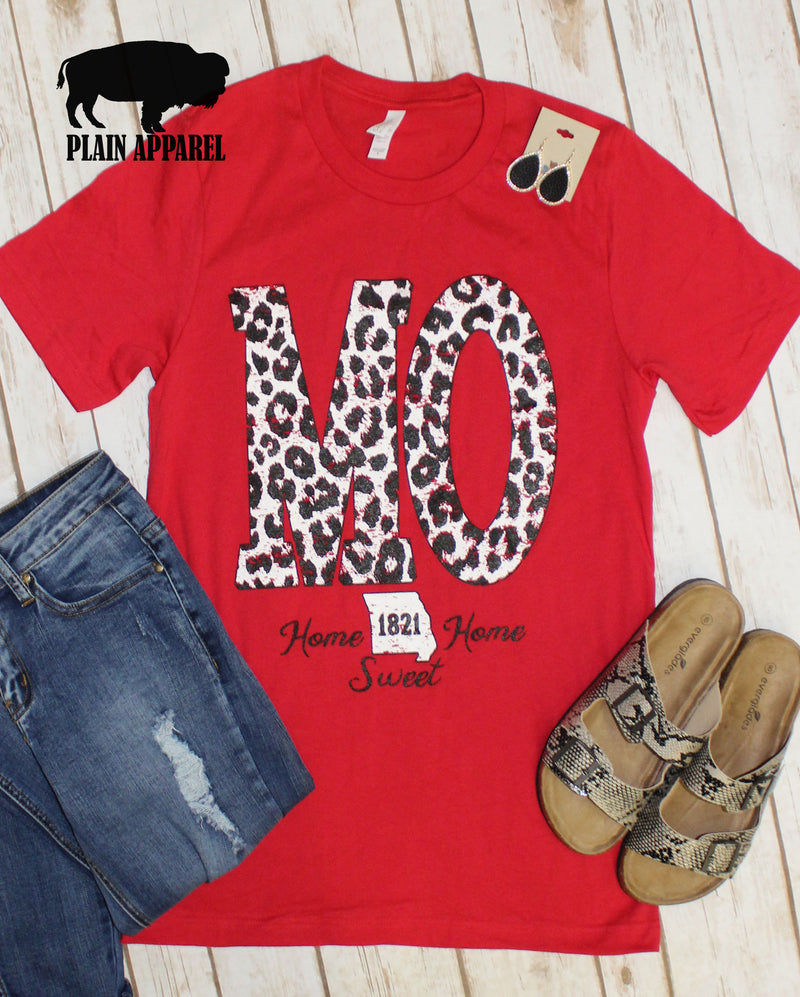 Red MO Leopard State Abbreviation Crew Neck Tee - Bless UR Heart Boutique