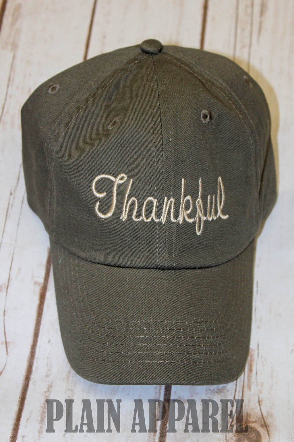 Thankful Olive Green Basic Ball Cap - Bless UR Heart Boutique