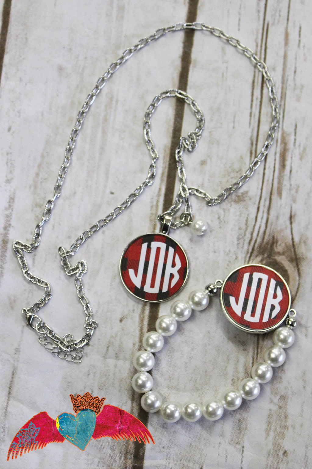 Buffalo Plaid Monogram Necklace and Pearl Bracelet Set