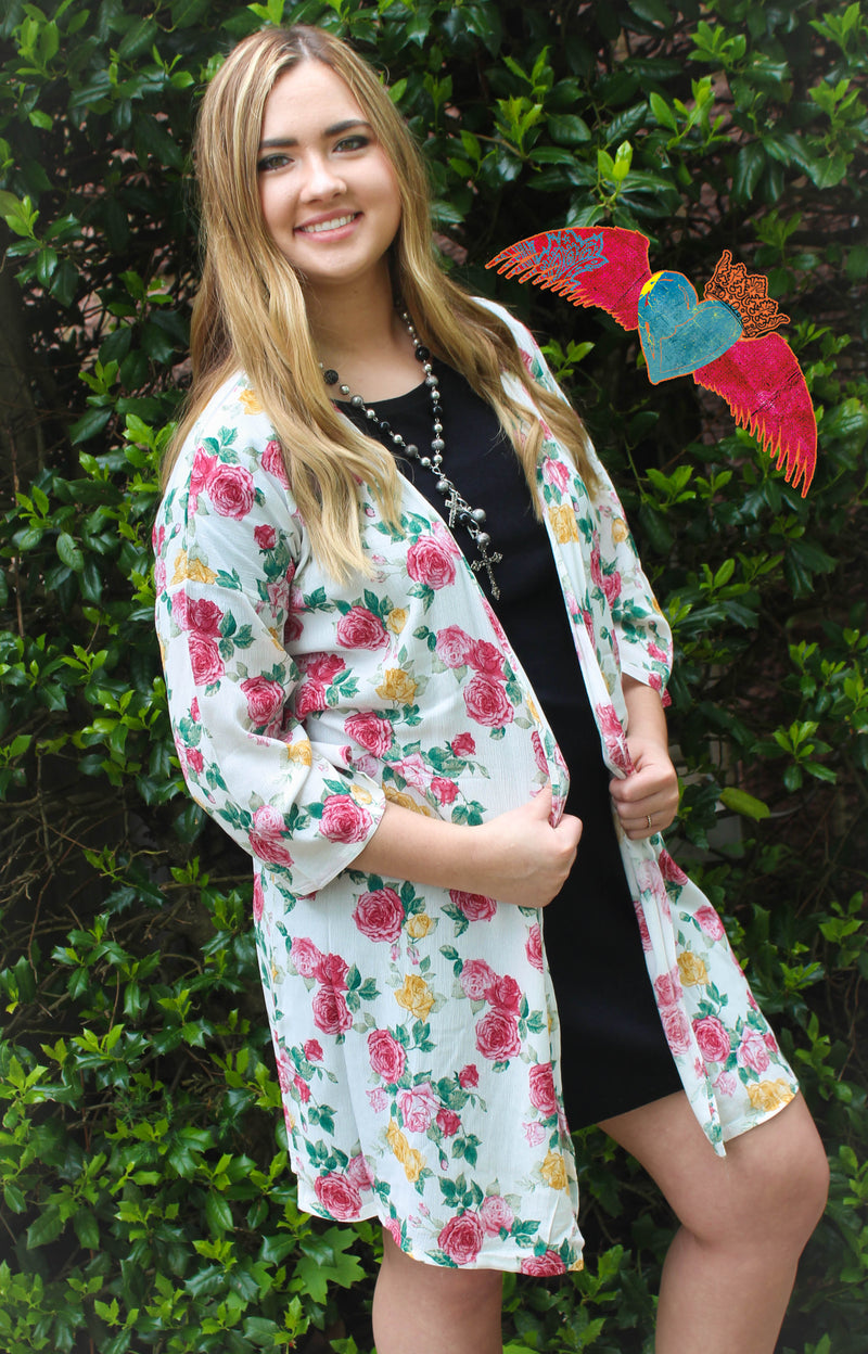 White Buttercup Rose Kimono 126 - Bless UR Heart Boutique