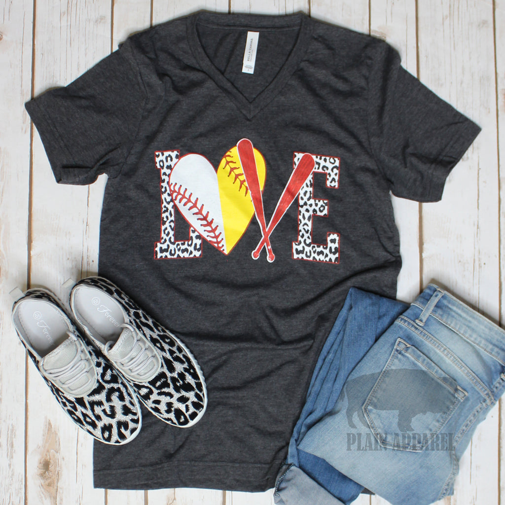 Softball/Baseball LOVE Dark Heather Gray V-Neck Tee - Bless UR Heart Boutique