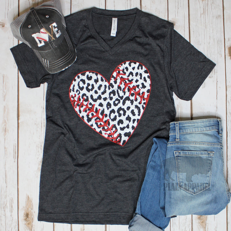 LEOPARD Baseball Heart V-Neck Tee - Bless UR Heart Boutique