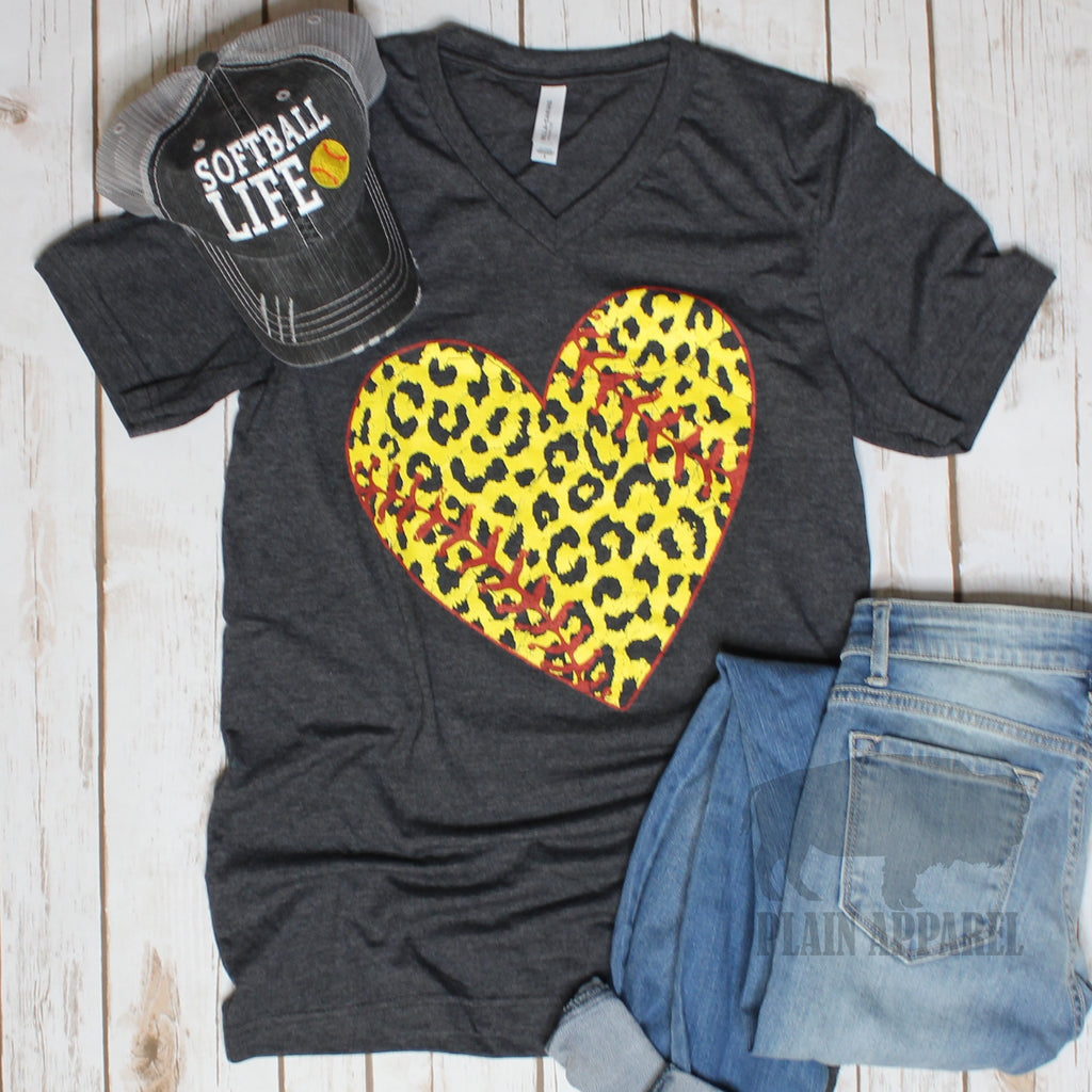 LEOPARD Softball Heart V-Neck Tee - Bless UR Heart Boutique