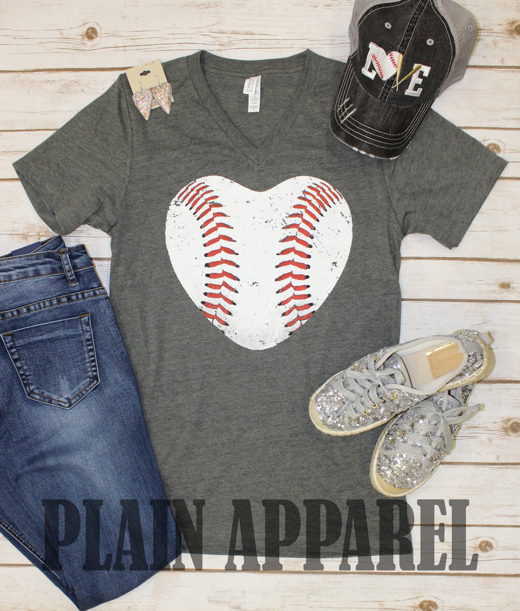 Baseball Heart V-Neck Tee - Bless UR Heart Boutique