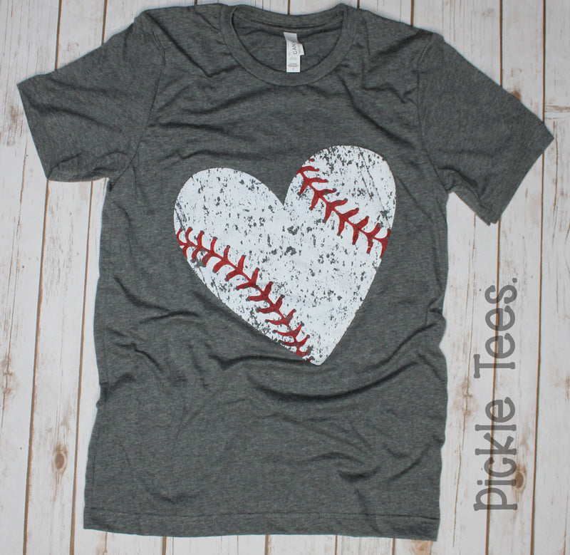 CREW Distressed Baseball Heart Tee - Bless UR Heart Boutique