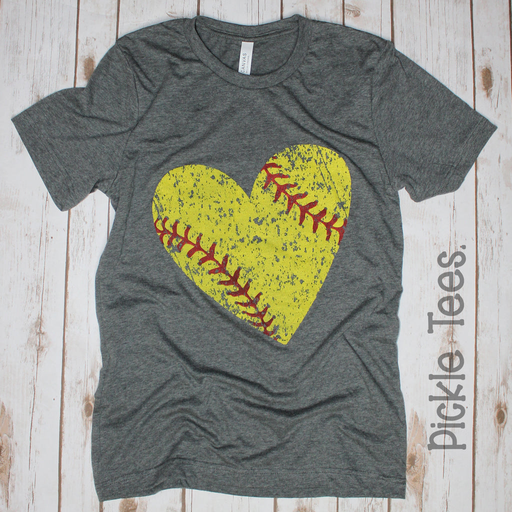 CREW Distressed Softball Heart Tee - Bless UR Heart Boutique