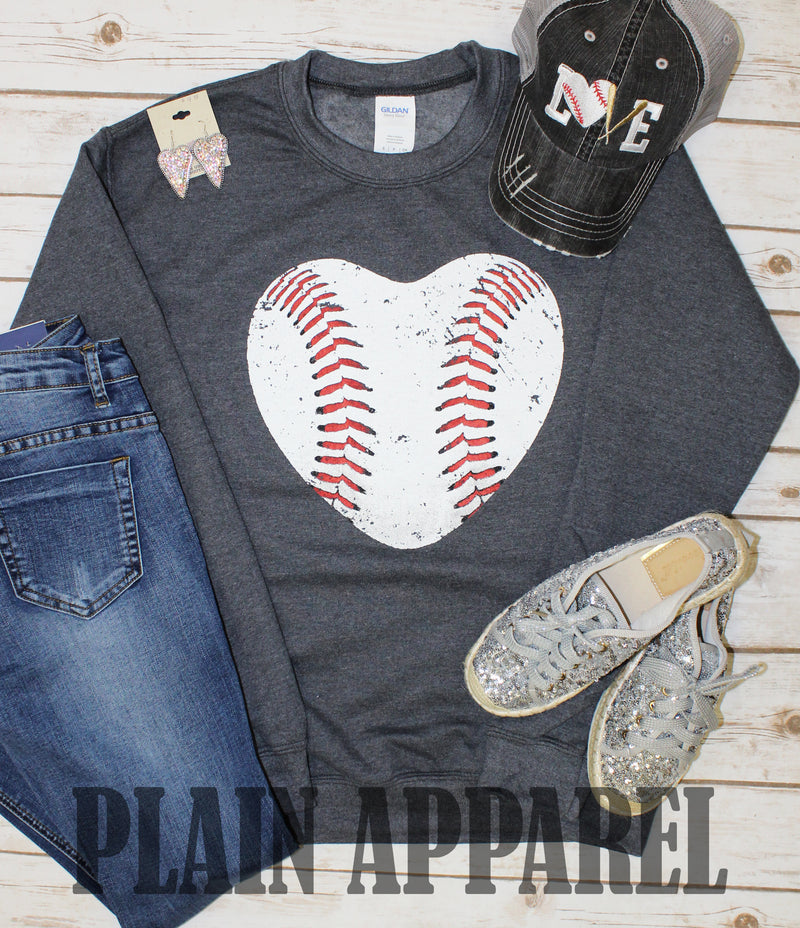 Baseball Heart Sweatshirt - Bless UR Heart Boutique