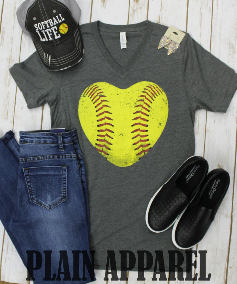Softball Heart V-Neck Tee - Bless UR Heart Boutique