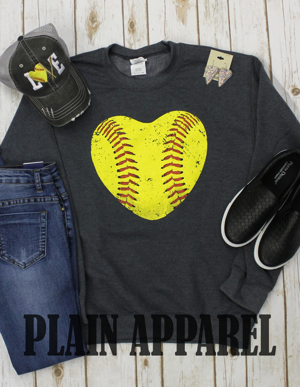 Softball Heart Sweatshirt - Bless UR Heart Boutique