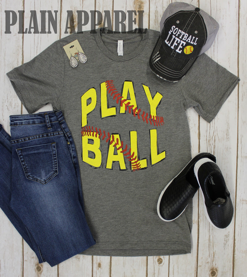 "Softball ""Play Ball!"" Crew Neck Tee - Bless UR Heart Boutique"