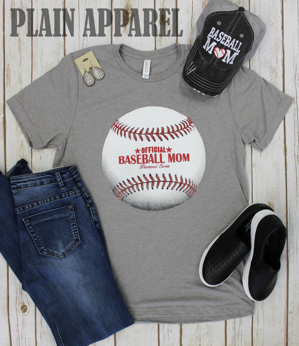 Official Baseball Mom Crew Neck Tee - Bless UR Heart Boutique