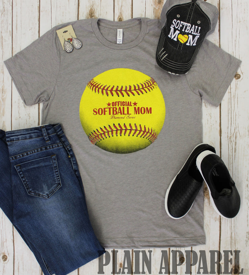 Official Softball Mom Crew Neck Tee