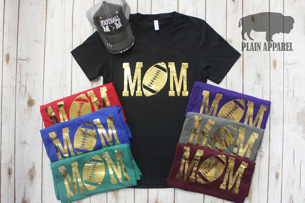 GOLD Football MOM V-neck - Bless UR Heart Boutique