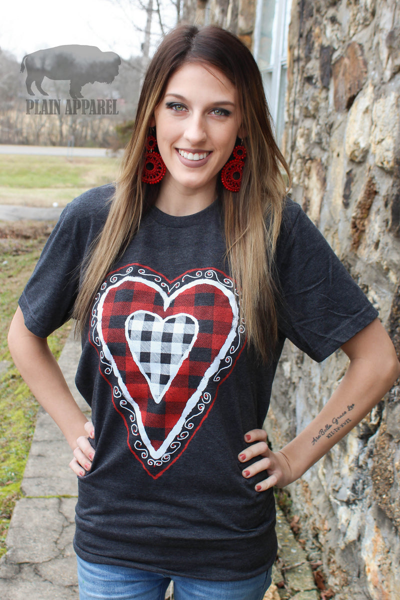 Vintage Heart Dark Gray Crew Tee - Bless UR Heart Boutique