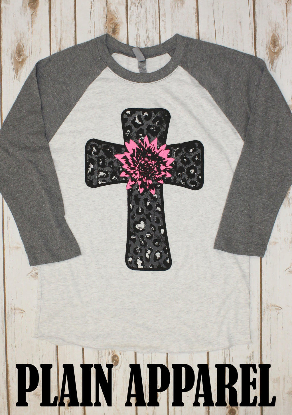 Leopard Flower Cross Raglan - Bless UR Heart Boutique