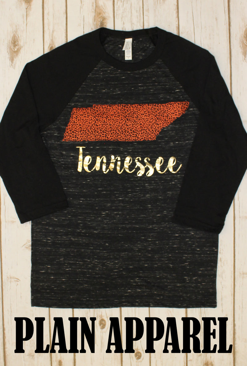 Orange Leopard Tennessee Raglan - Bless UR Heart Boutique