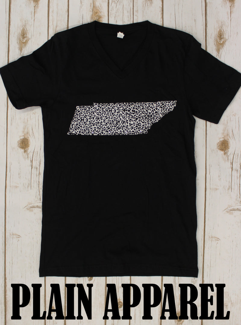 Snow Leopard Tennessee Applique V-Neck Tee - Bless UR Heart Boutique