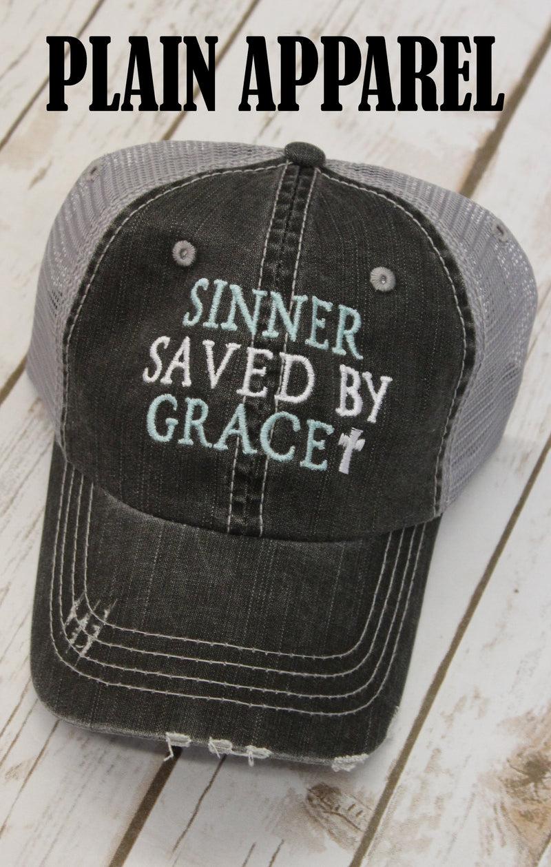 Sinner Saved By Grace Ball Cap - Bless UR Heart Boutique
