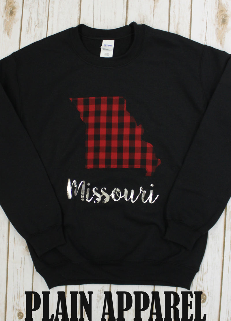 Missouri Buffalo Plaid Crew Sweatshirts - Bless UR Heart Boutique