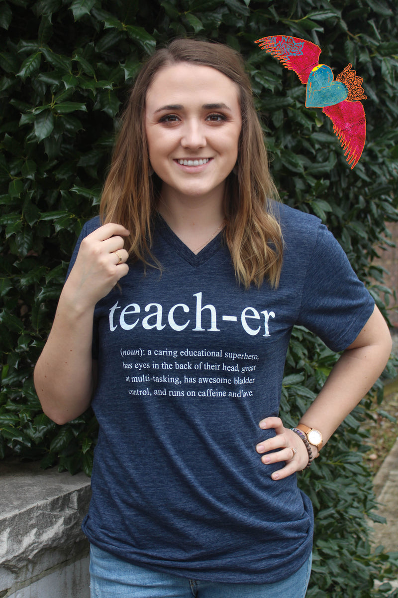 Funny Definition Teacher V-Neck Tee - Bless UR Heart Boutique