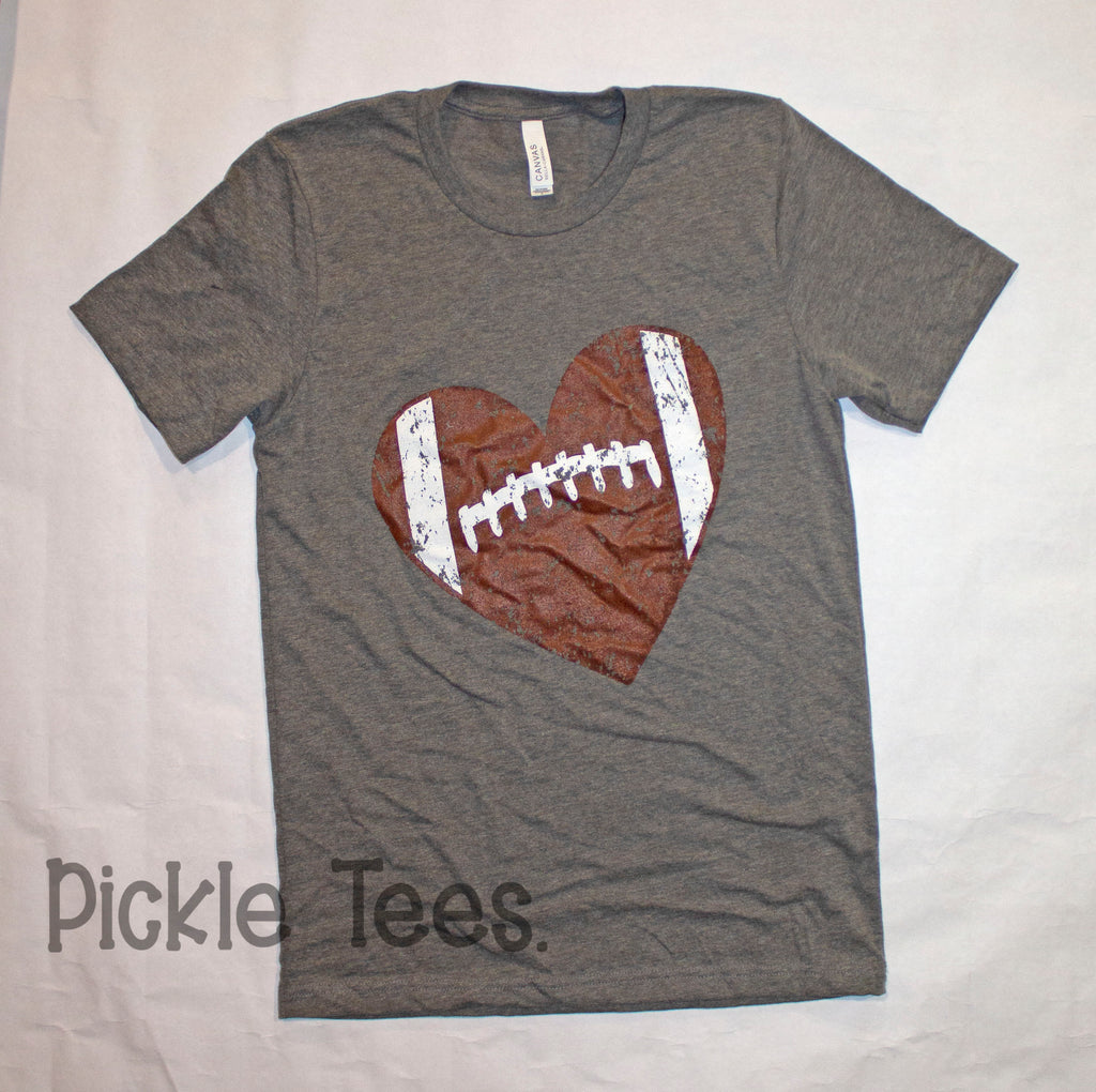 CREW Distressed Football Heart Tee - Bless UR Heart Boutique