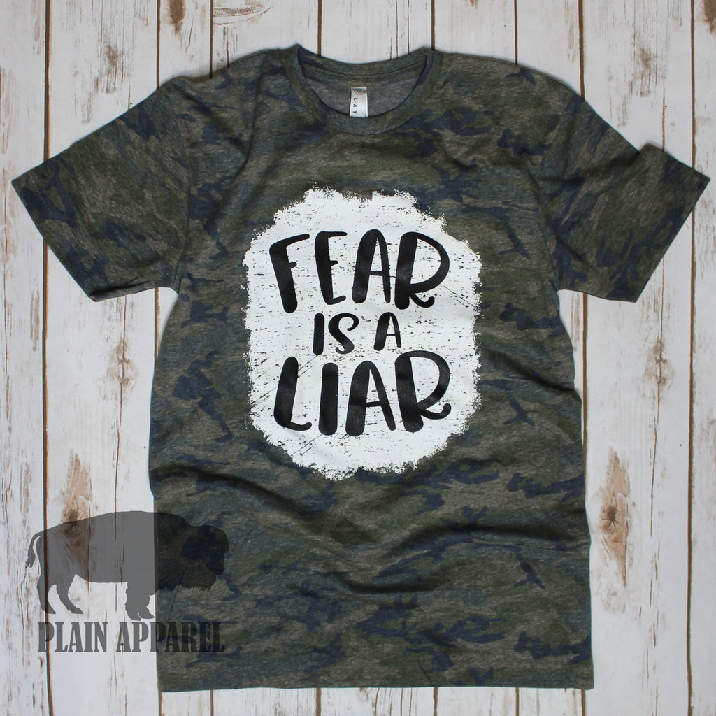 CAMO Fear Is A Liar Tee - Bless UR Heart Boutique