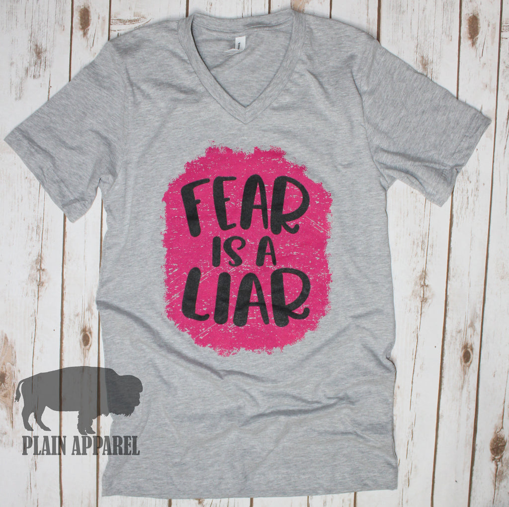 Fear Is A Liar GRAY V-Neck Tee - Bless UR Heart Boutique