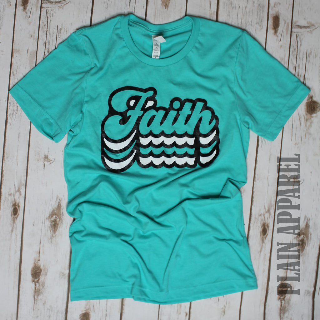TEAL Retro Faith Crew Neck Tee - Bless UR Heart Boutique
