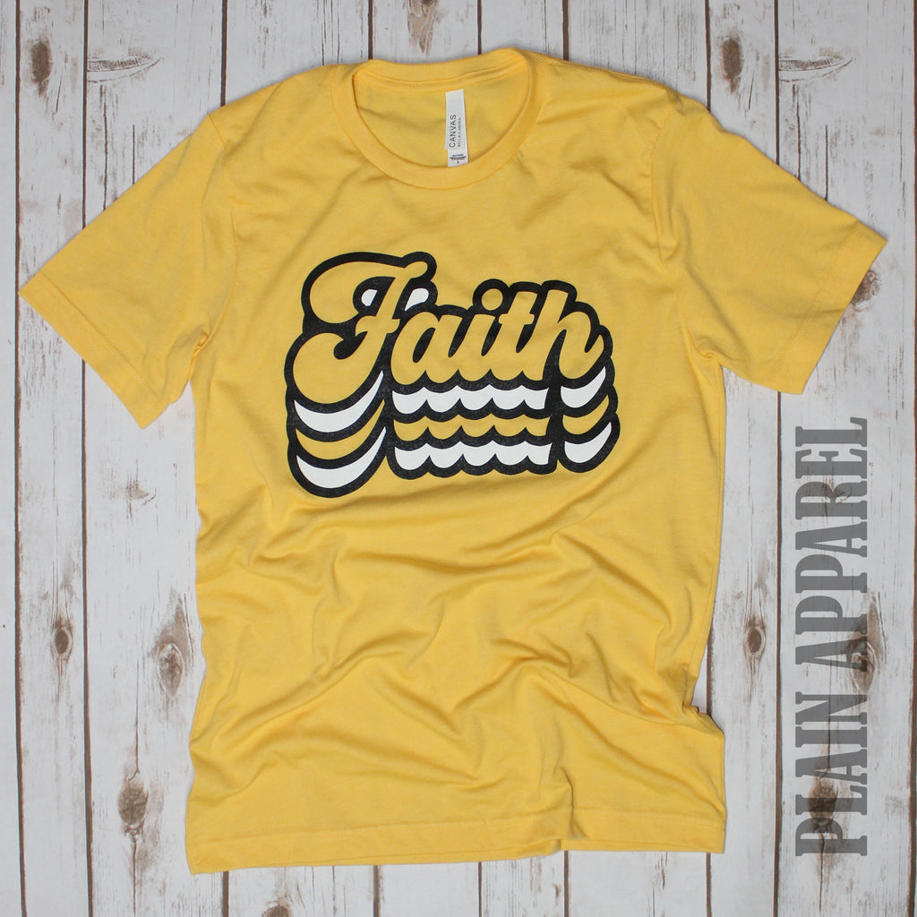 YELLOW Retro Faith Crew Neck Tee - Bless UR Heart Boutique