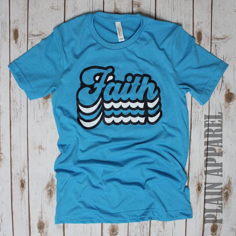 AQUA Retro Faith Crew Neck Tee - Bless UR Heart Boutique