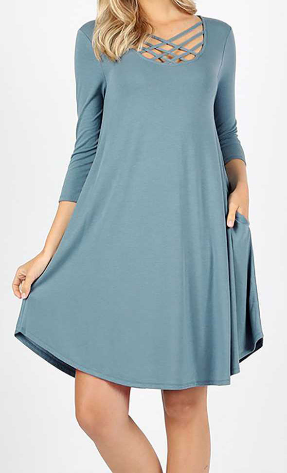 Titanium Strappy 3/4 Sleeve Dress 156 - Bless UR Heart Boutique